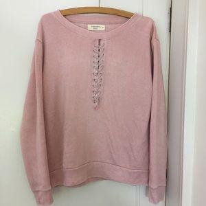 OCEAN DRIVE pink lace up sweatshirt